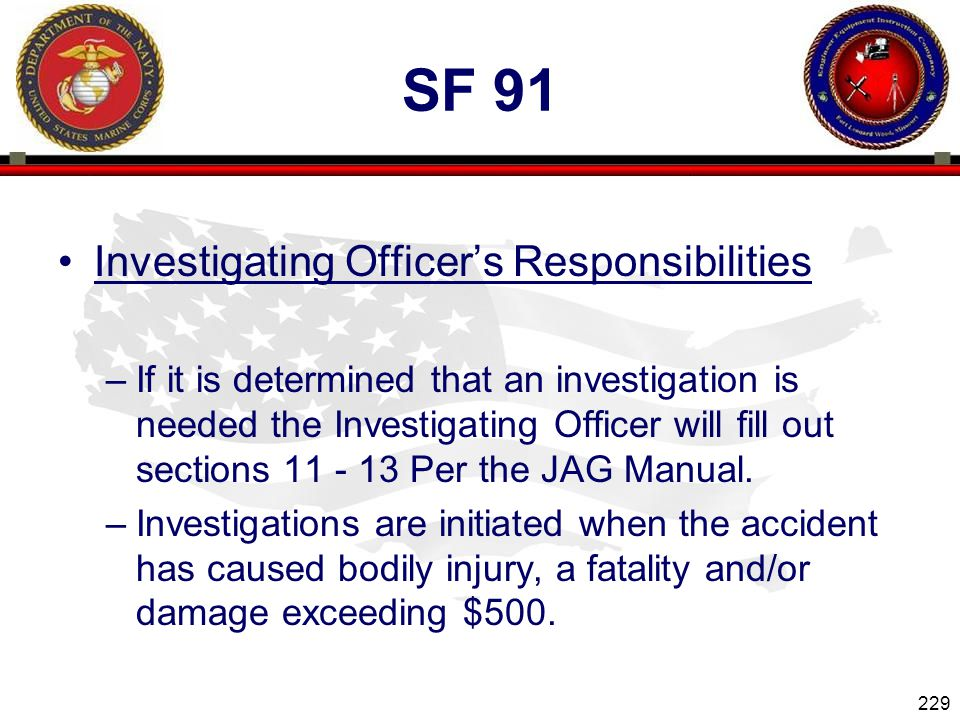Sf 91 Investigating Officer's Responsibilities