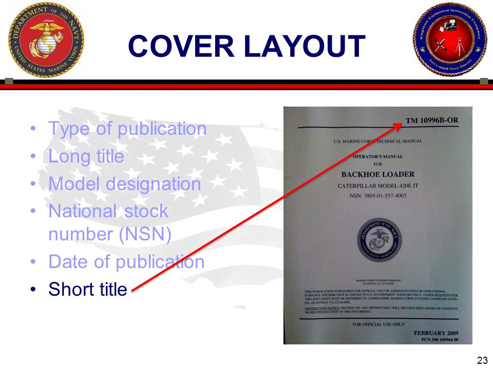 COVER LAYOUT Type of publication Long title Model designation