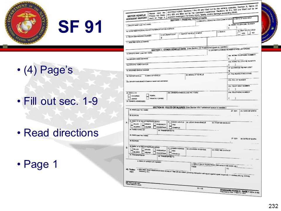 Sf 91 (4) Page's Fill out sec. 1-9 Read directions Page 1