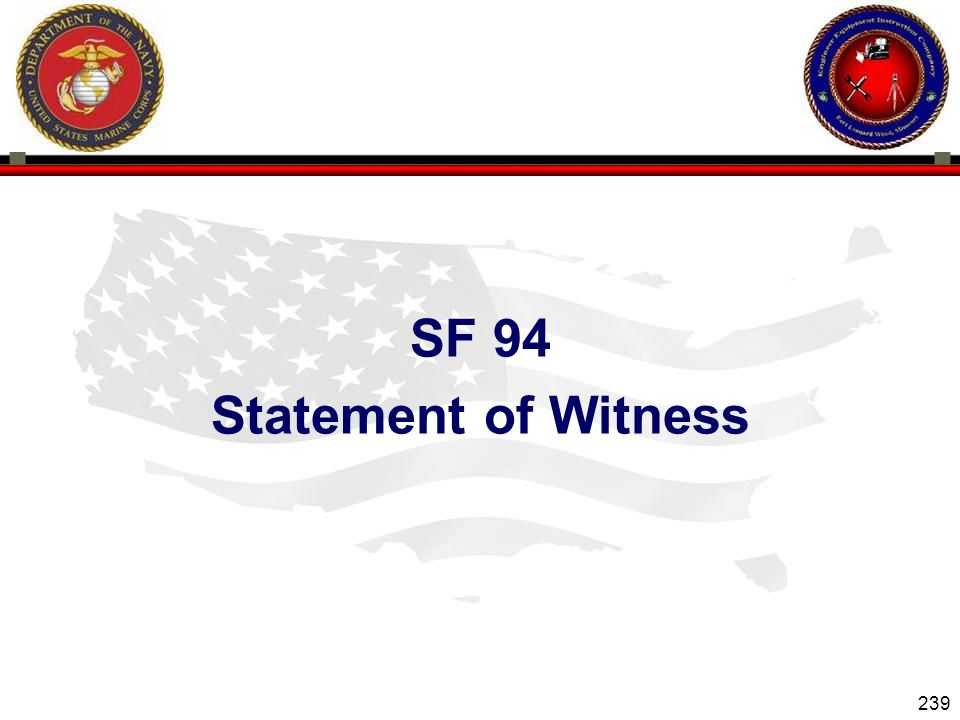SF 94 Statement of Witness