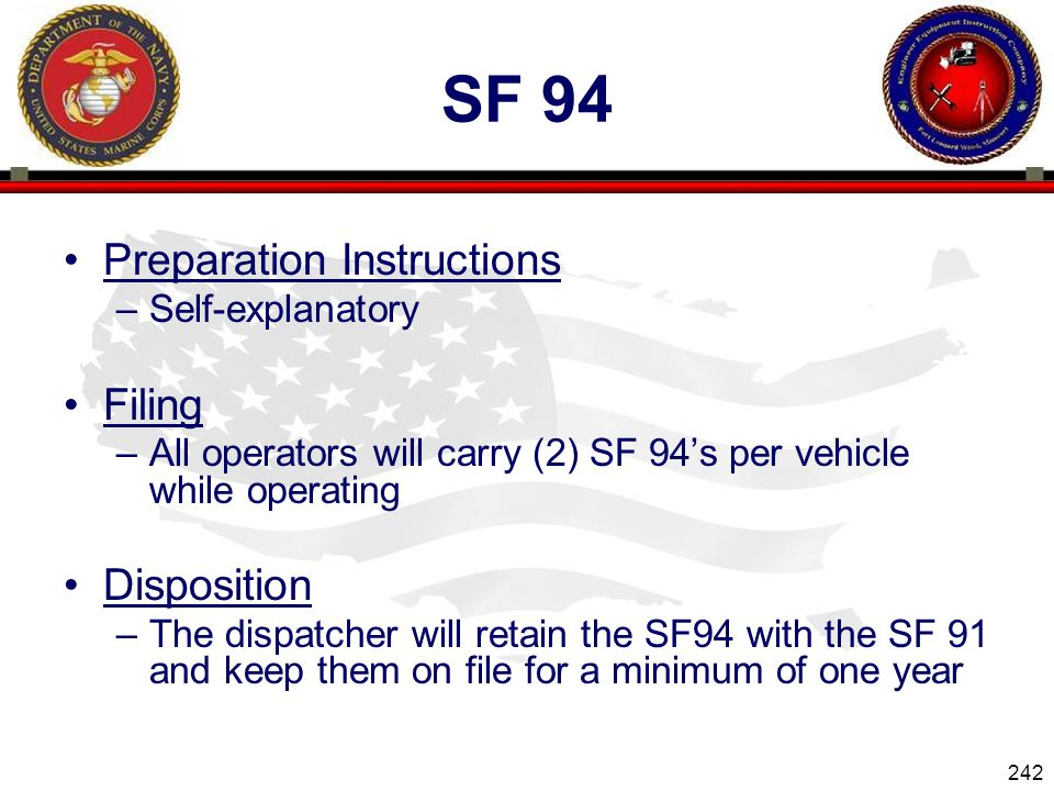 Sf 94 Preparation Instructions Filing Disposition Self-explanatory