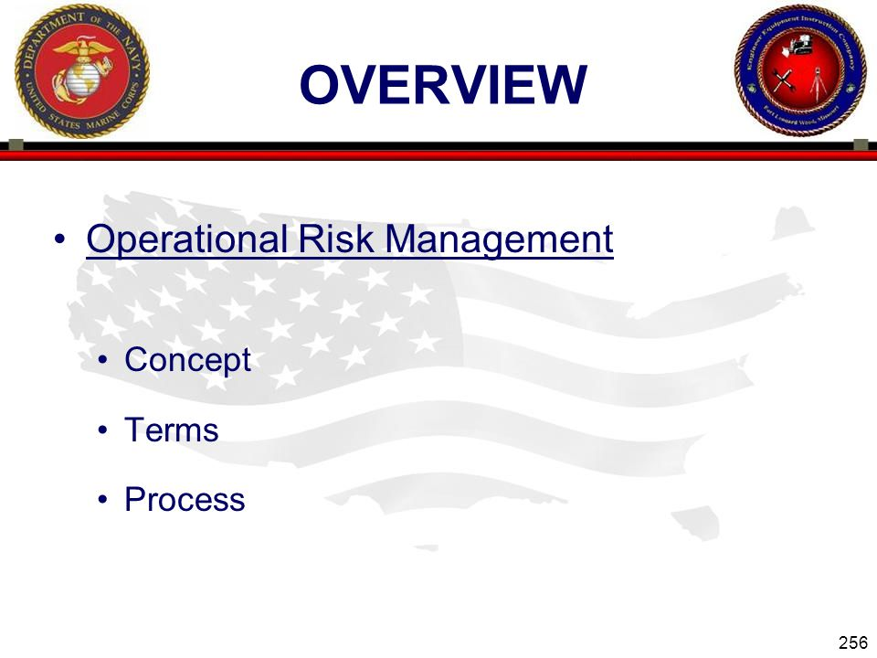 OVERVIEW Operational Risk Management Concept Terms Process