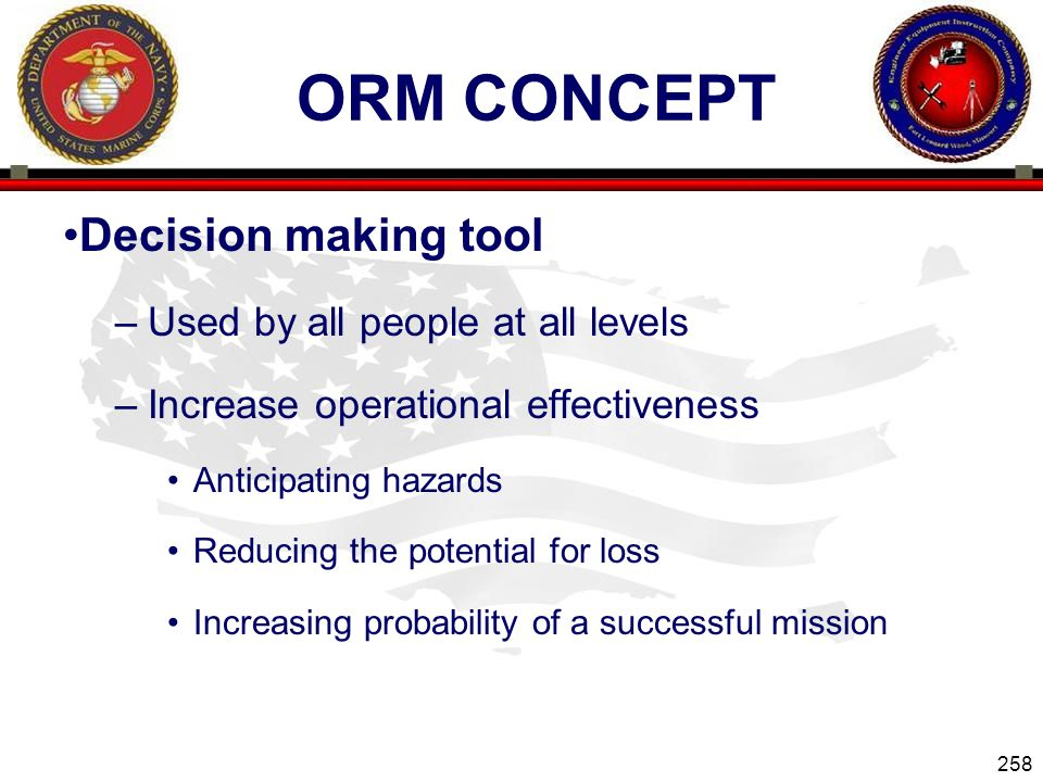 ORM Concept Decision making tool Used by all people at all levels