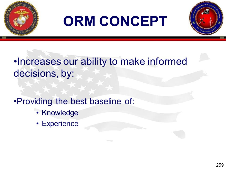 ORM Concept Increases our ability to make informed decisions, by: