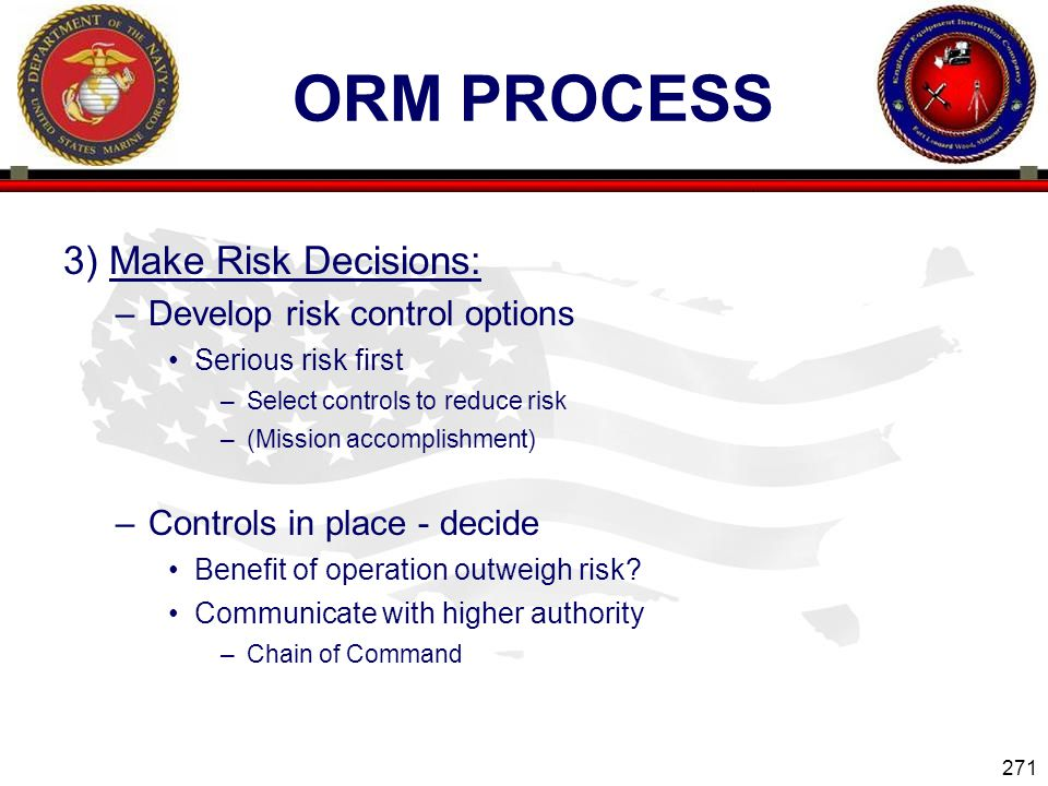 ORM Process 3) Make Risk Decisions: Develop risk control options