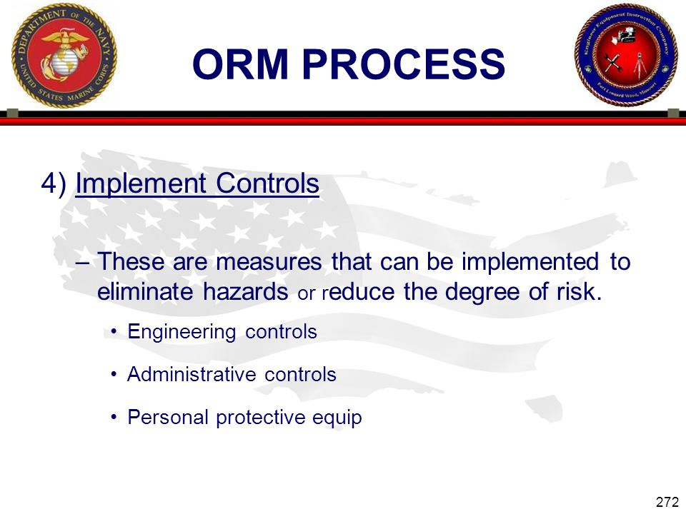 ORM Process 4) Implement Controls