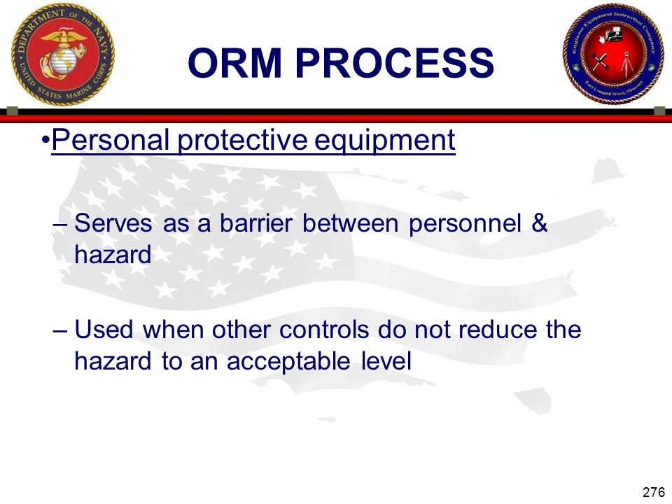 ORM Process Personal protective equipment