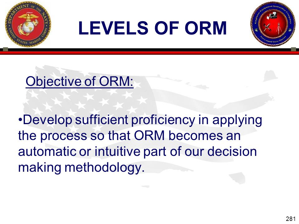 Levels of ORM Objective of ORM: