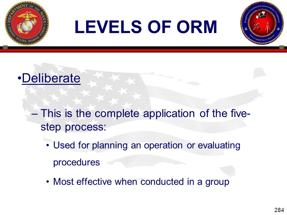 Levels of ORM Deliberate
