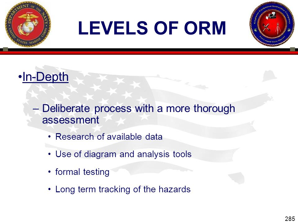 Levels of ORM In-Depth. Deliberate process with a more thorough assessment. Research of available data.