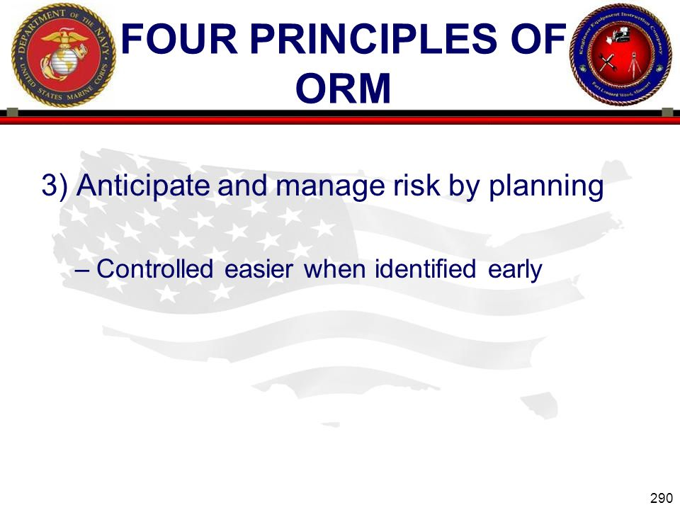Four Principles of ORM 3) Anticipate and manage risk by planning