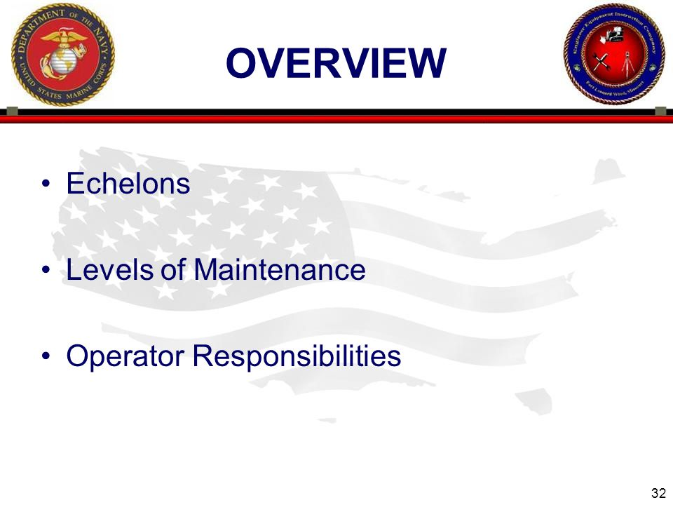 overview Echelons Levels of Maintenance Operator Responsibilities
