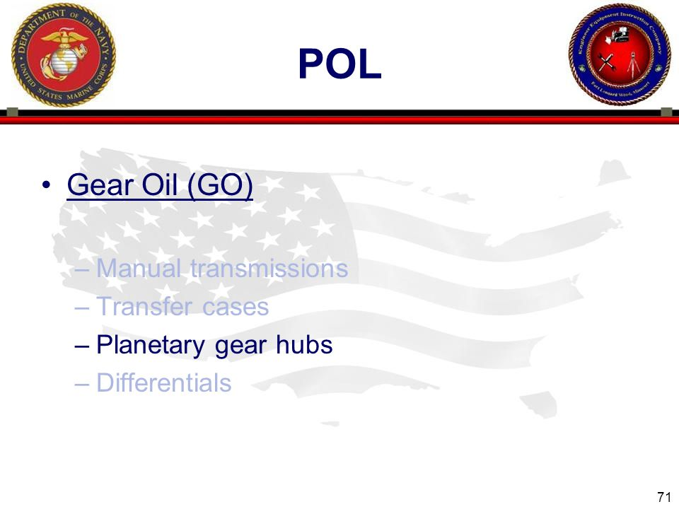 pol Gear Oil (GO) Manual transmissions Transfer cases