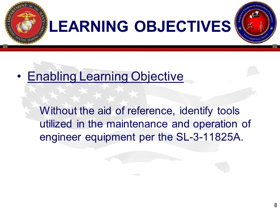 Learning objectives Enabling Learning Objective