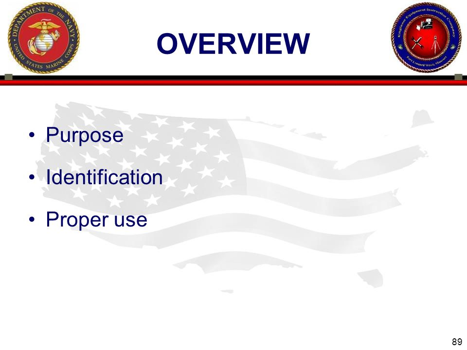 overview Purpose Identification Proper use