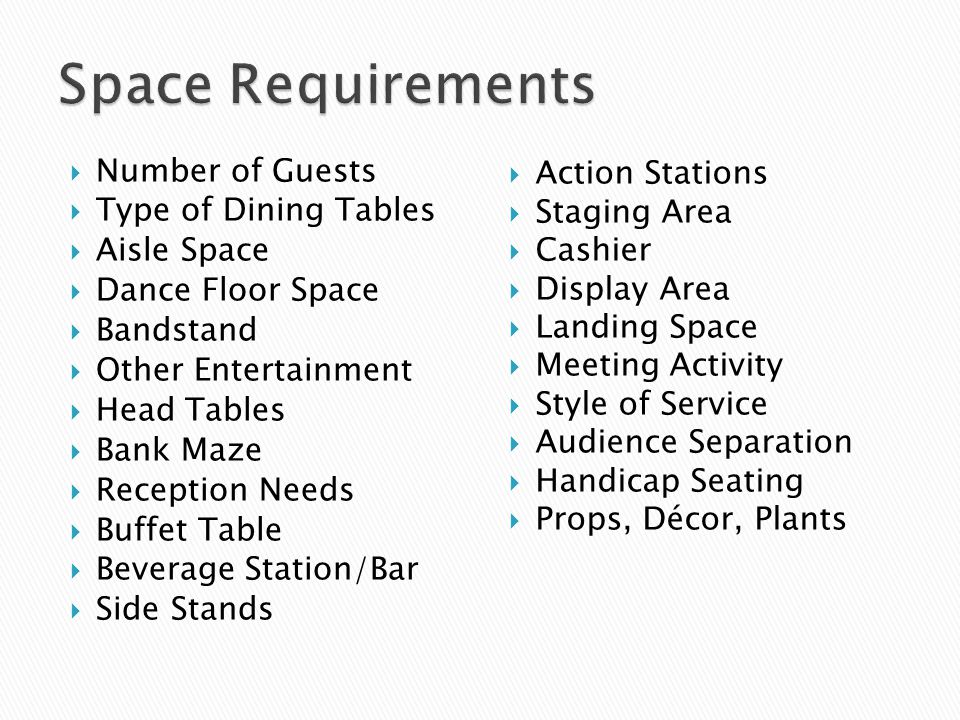 Space Requirements Number of Guests Type of Dining Tables Aisle Space