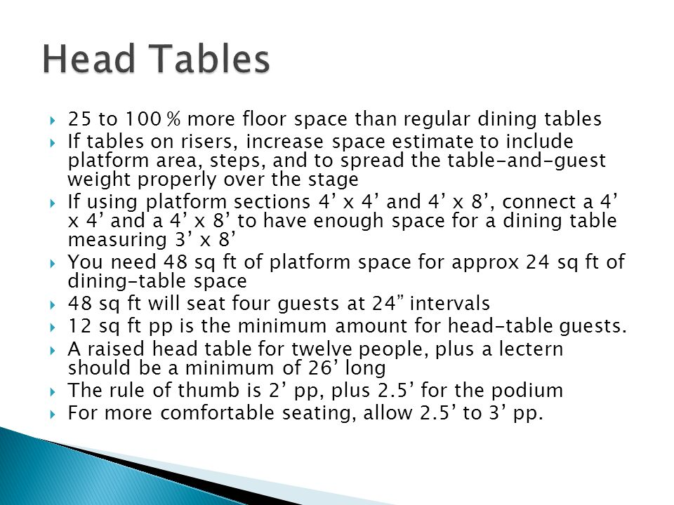 Head Tables 25 to 100 % more floor space than regular dining tables
