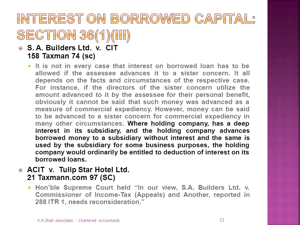 Interest on Borrowed Capital: Section 36(1)(iii)