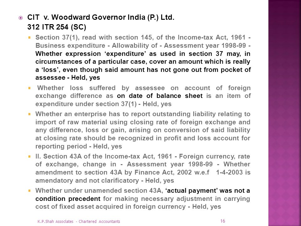 CIT v. Woodward Governor India (P.) Ltd. 312 ITR 254 (SC)