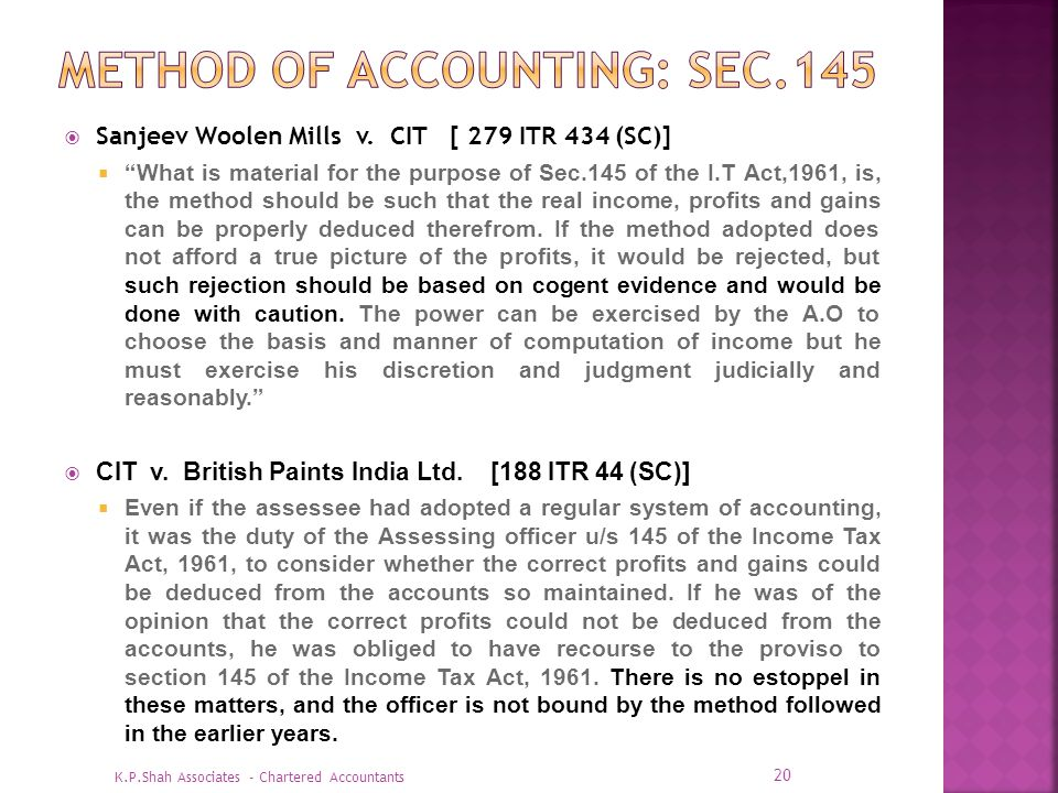 Method of accounting: SEC.145