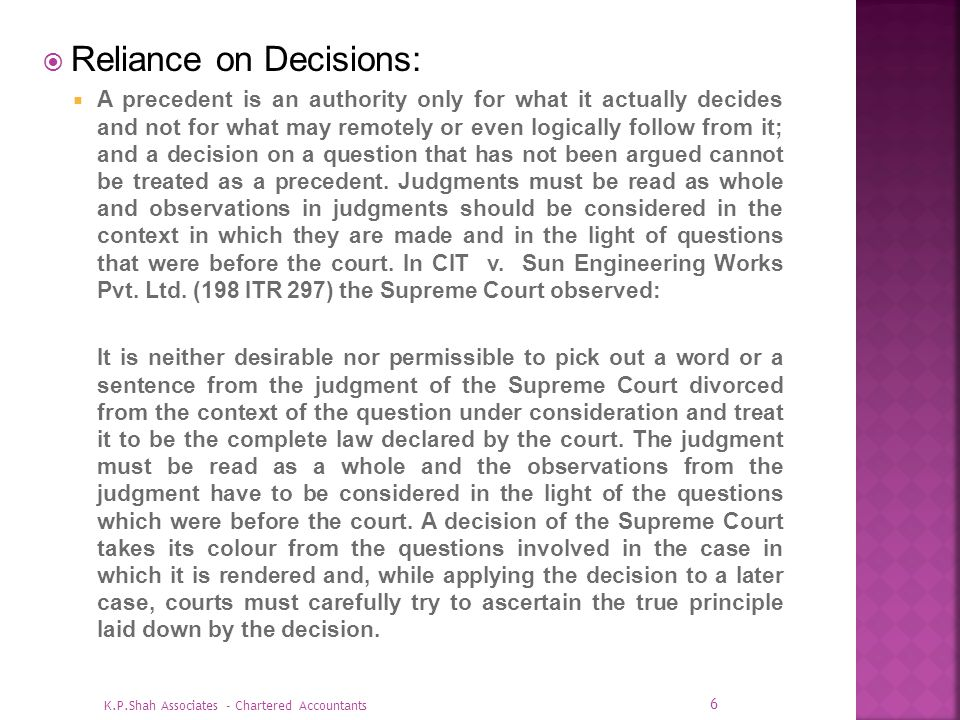 Reliance on Decisions: