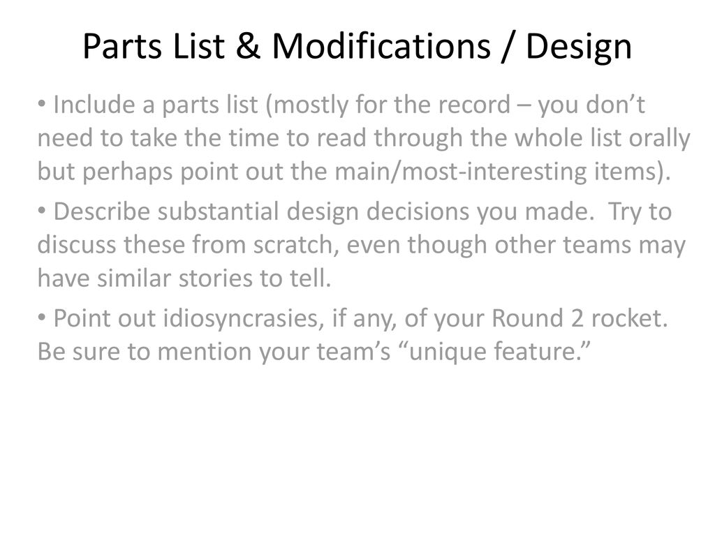 Team Name Round 2 Flight Readiness Review (this is a bare-bones