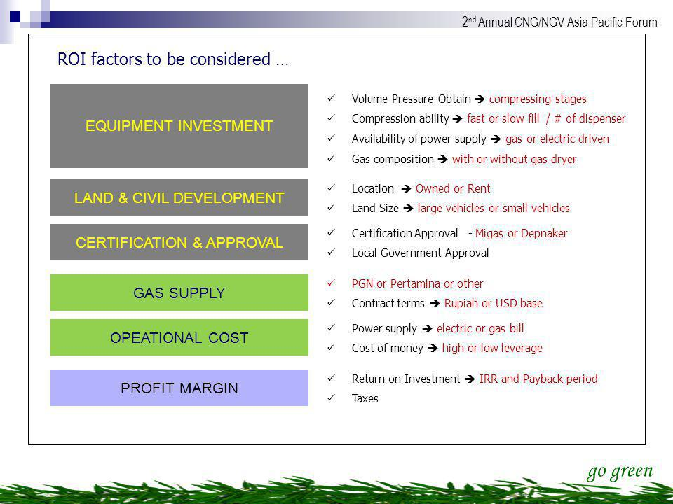 WITH CONDITIONS AVAILABILITY OF FUNDS ROI factors to be considered …