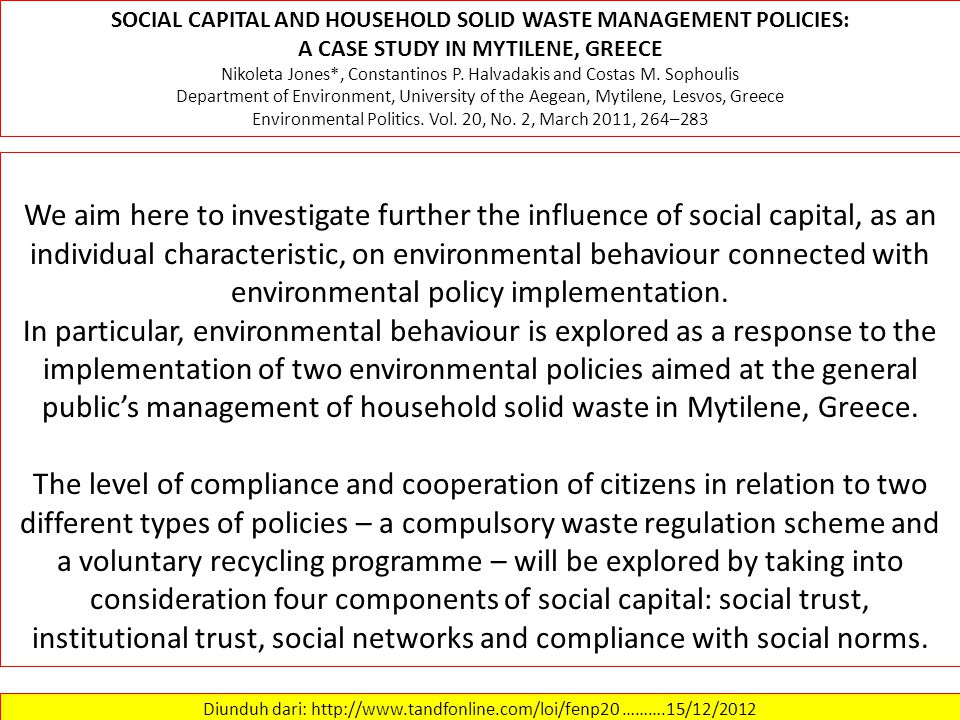 SOCIAL CAPITAL AND HOUSEHOLD SOLID WASTE MANAGEMENT POLICIES: