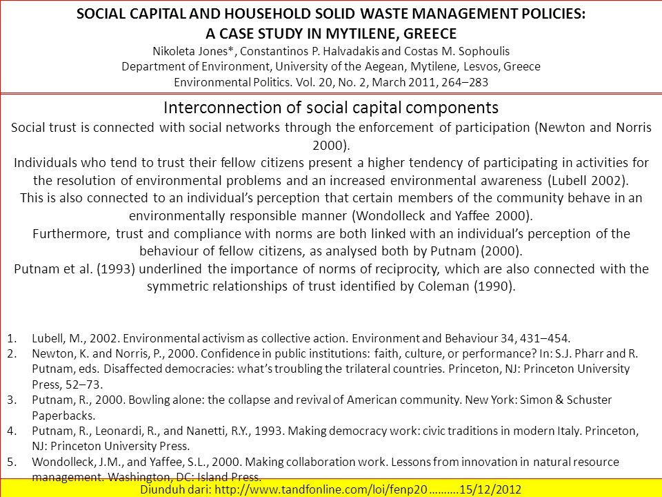 Interconnection of social capital components