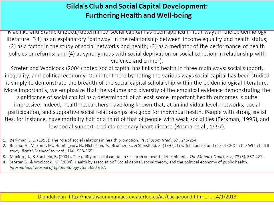 Gilda s Club and Social Capital Development: Furthering Health and Well-being