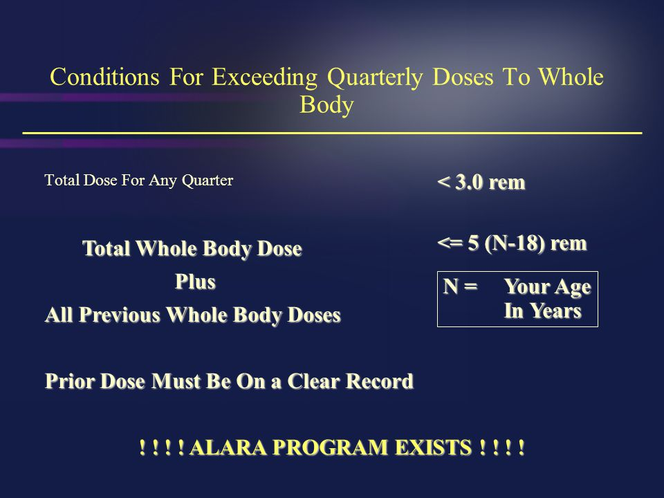 Conditions For Exceeding Quarterly Doses To Whole Body