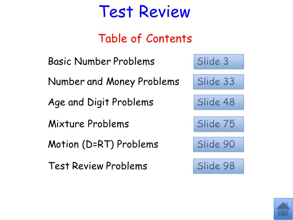 Test Review Table of Contents Basic Number Problems Slide 3