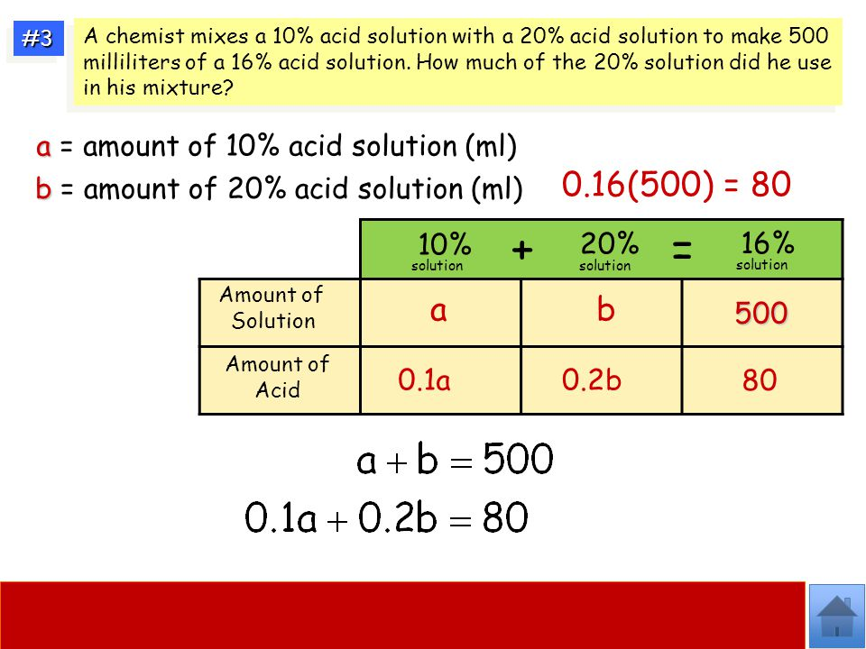 + = 0.16(500) = 80 a b a = amount of 10% acid solution (ml)