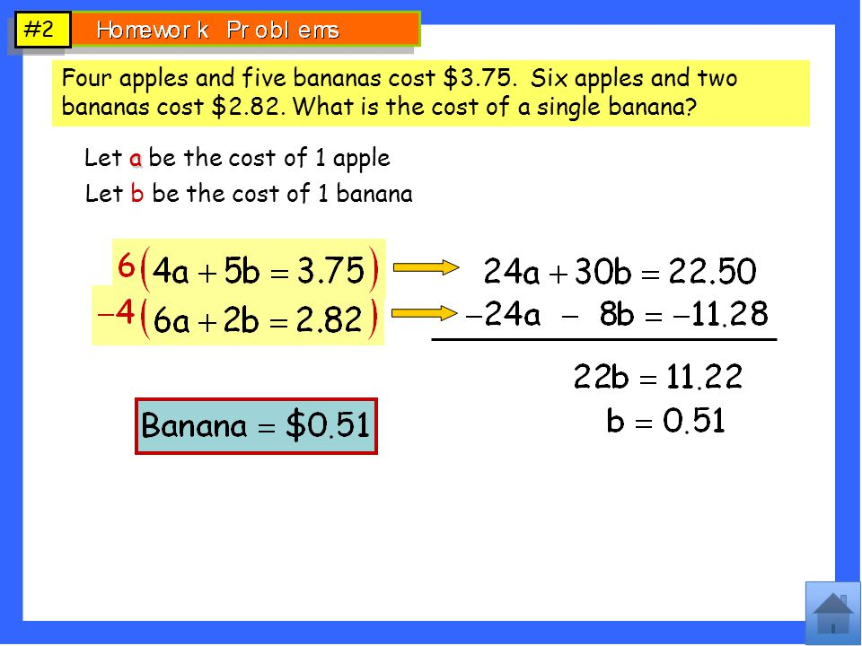 Let a be the cost of 1 apple Let b be the cost of 1 banana