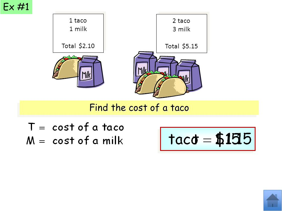 Ex #1 Find the cost of a taco 1 taco 2 taco 1 milk 3 milk Total $2.10