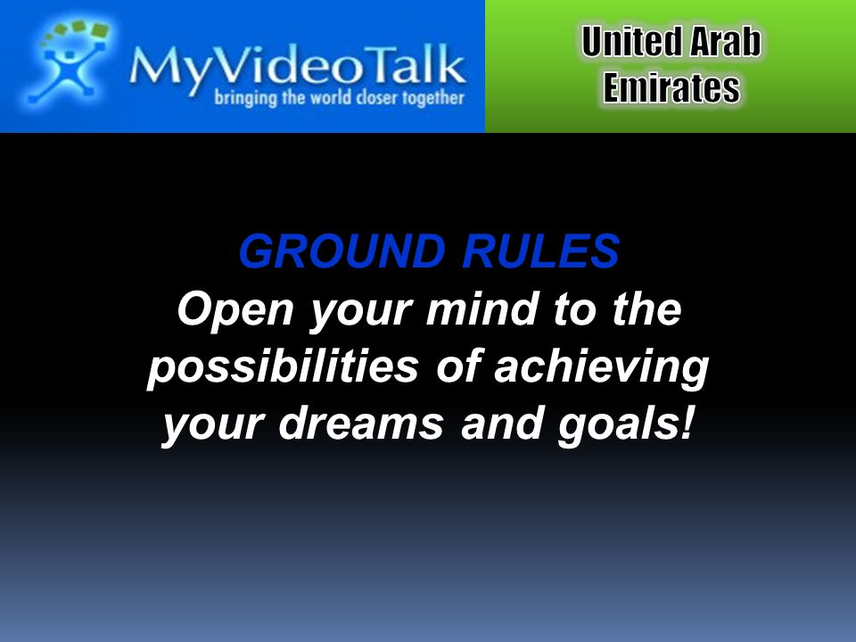 GROUND RULES Open your mind to the possibilities of achieving your dreams and goals!