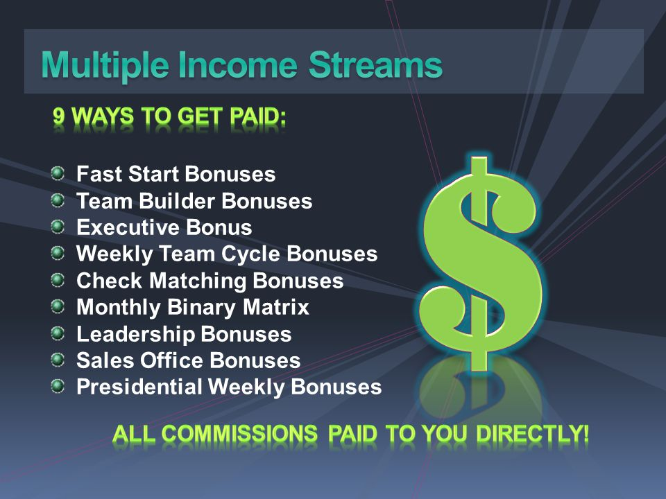 ALL COMMISSIONS PAID TO YOU DIRECTLY!