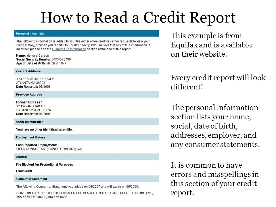 Credit made simple presented by the financial aid office and the how to read a credit report altavistaventures Gallery