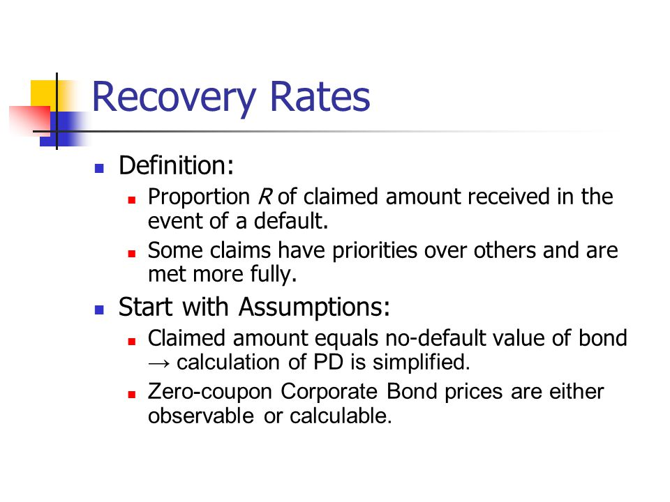 Recovery Rates Definition: Start with Assumptions: