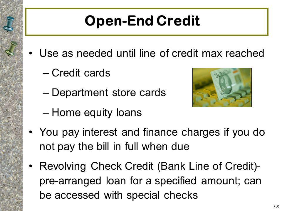 9A Consumer Credit #9 Credit – An arrangement to receive cash