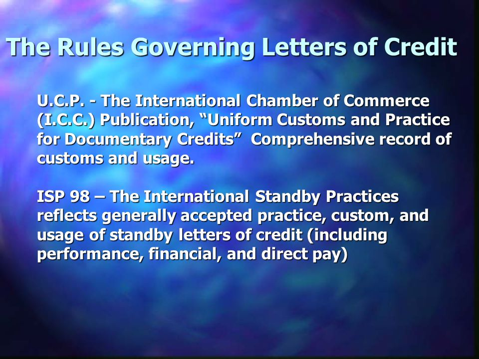 The Rules Governing Letters of Credit