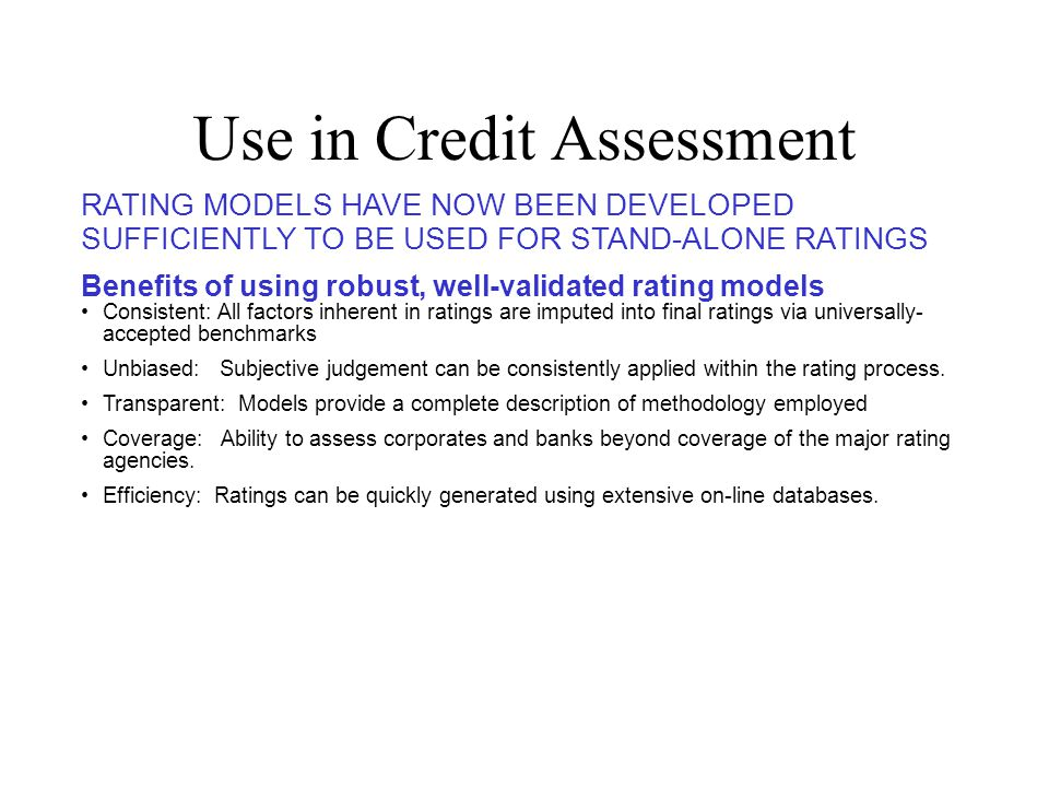 Use in Credit Assessment