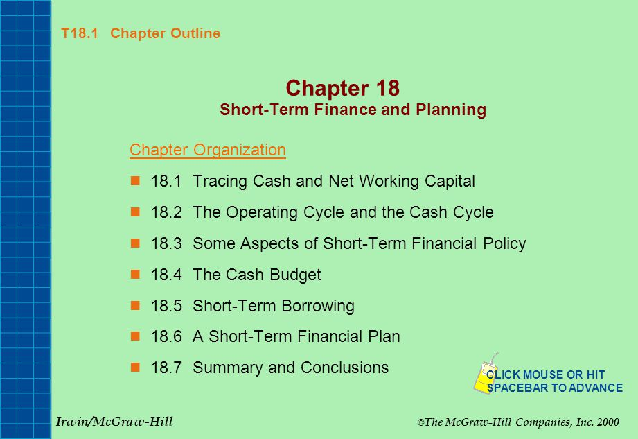 Chapter 18 Short-Term Finance and Planning