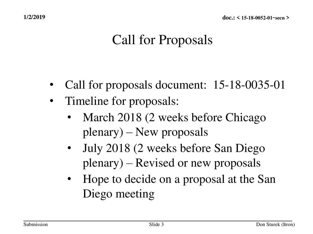 Call for Proposals Call for proposals document: