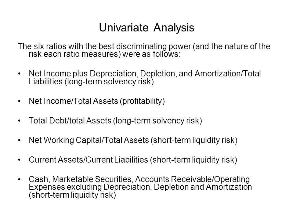 Univariate Analysis The six ratios with the best discriminating power (and the nature of the risk each ratio measures) were as follows: