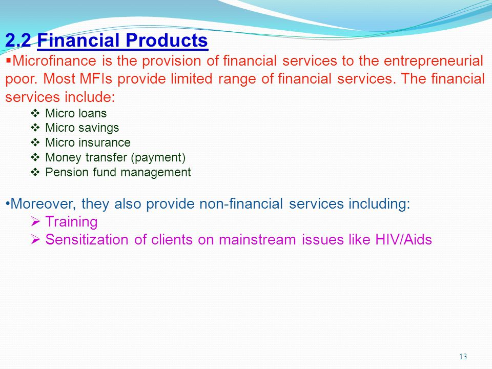 2.2 Financial Products