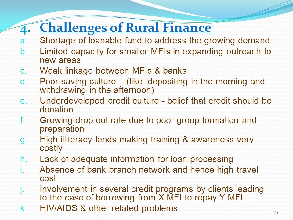 4. Challenges of Rural Finance