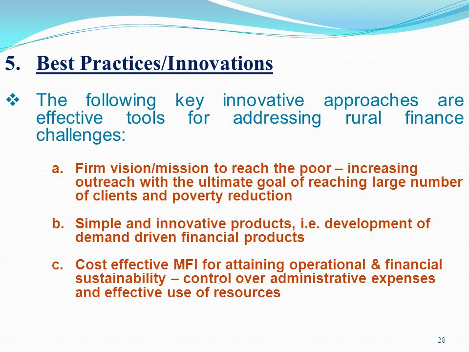 Best Practices/Innovations