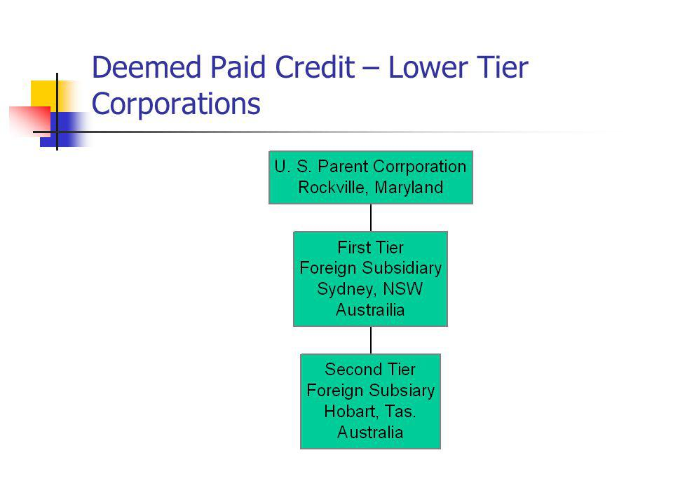 Deemed Paid Credit – Lower Tier Corporations