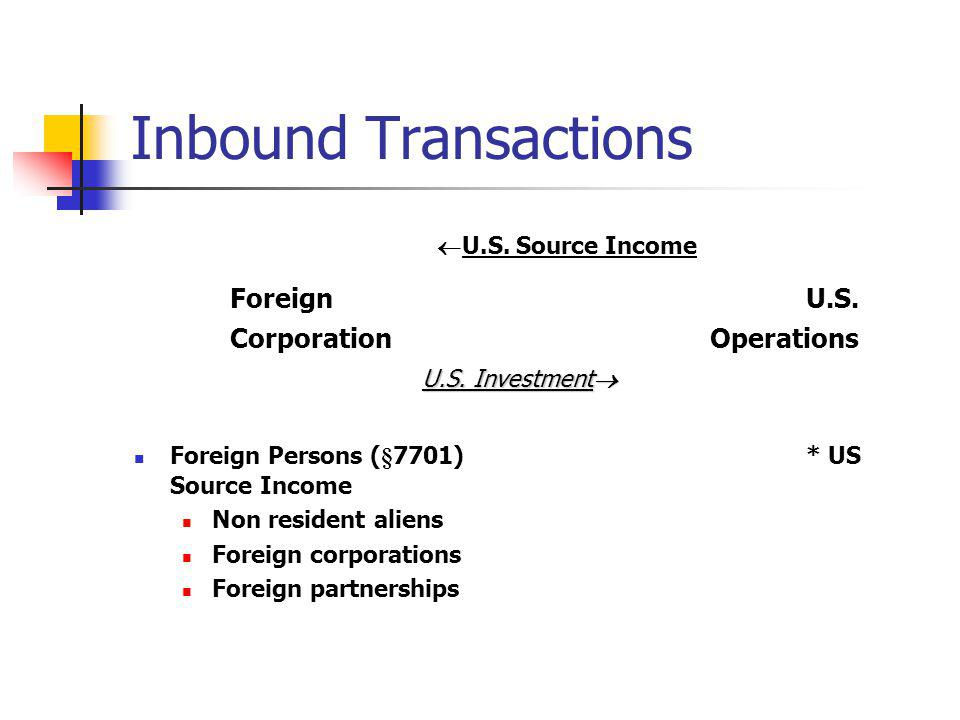 Inbound Transactions U.S. Source Income Foreign U.S.